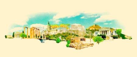 acuarela ATENAS ciudad ilustración