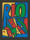 typographic vector touristic hand drawn rio city poster