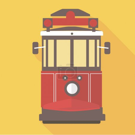 Illustration for Vector illustration long shadow flat icon of istanbul street railway - Royalty Free Image