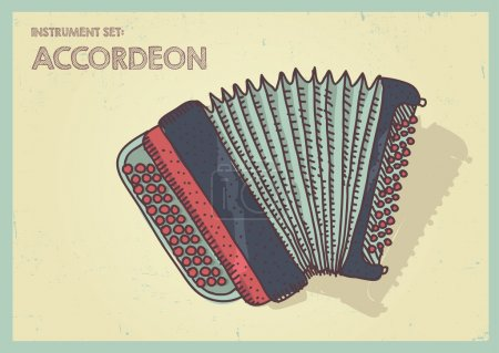 Vector illustration long shadow flat icon of accordeon