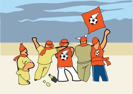 Football fans. Vector