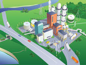 Refinery view from the bird's eye view Vector