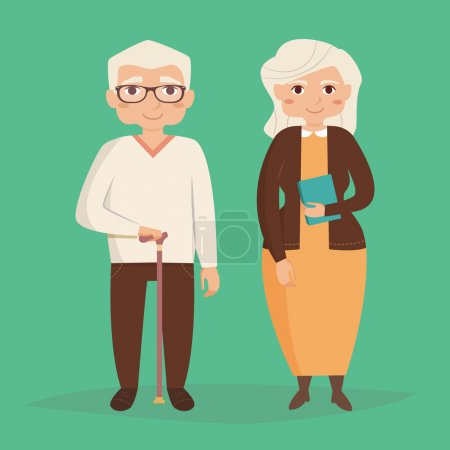 Illustration for Old couple. Vector illustration in flat style. Image for booklets, brochures, flyers, websites. Cartoon character. Man and woman - Royalty Free Image