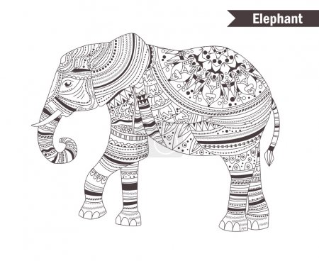 Elephant. coloring book for adult, antistress colo...