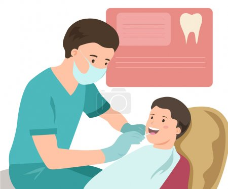 Illustration pour Dentiste pédiatrique. Médecine. Le cabinet du médecin. Illustration vectorielle - image libre de droit
