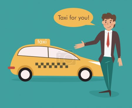 Illustration pour Chauffeur de taxi. Illustration vectorielle isolée. Caractère de bande dessinée . - image libre de droit