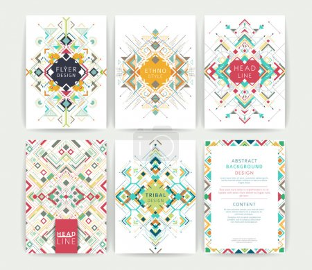 Illustration for Set of geometric abstract colorful flyers / brochure templates / design elements / modern backgrounds / line art - Royalty Free Image