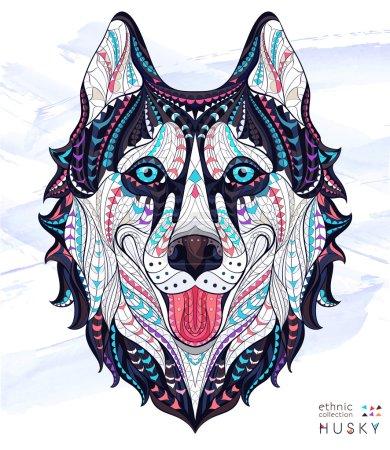 Patterned head of the dog husky