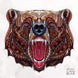 Patterned head of the growling bear on the grunge ...