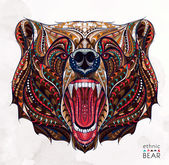 Patterned head of the growling bear on the grunge background African / indian / totem / tattoo design It may be used for design of a t-shirt bag postcard a poster and so on