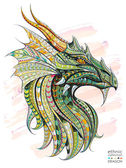 Patterned head of the dragon on the grunge background African / indian / totem / tattoo design It may be used for design of a t-shirt bag postcard a poster and so on