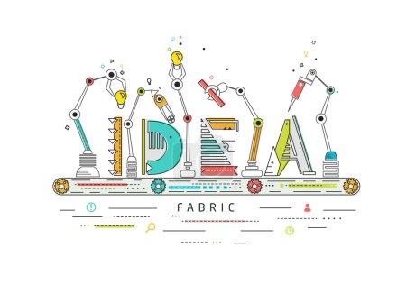 Illustration pour Concept de création et de construction idée / Ligne de production robotique / fabrication et machine / typographie - image libre de droit