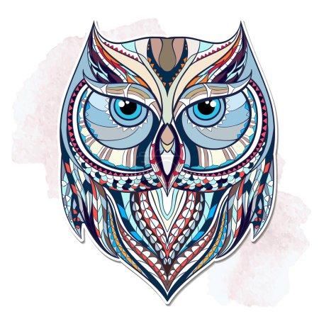 Illustration pour Hibou à motifs sur le fond grunge. Conception indienne africaine de tatouage de totem. Il peut être employé pour la conception d'un t-shirt, d'un sac, d'une carte postale, d'une affiche et ainsi de suite. - image libre de droit