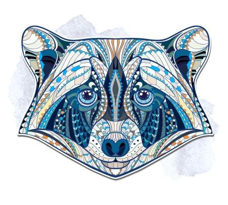 Illustration pour Tête à motifs ethniques de raton laveur sur le fond grunge conception de tatouage totem indien africain - image libre de droit