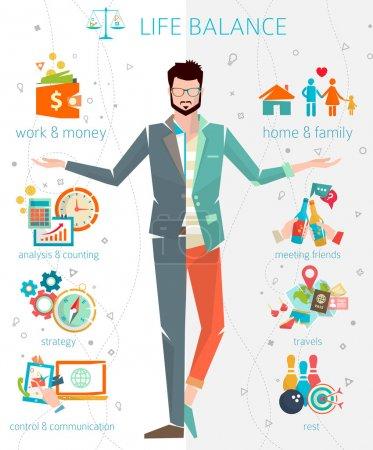 Illustration pour Concept d'équilibre entre vie professionnelle et vie privée. Illustration vectorielle plate . - image libre de droit