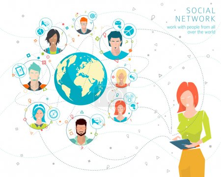 Illustration for Global business concept. Communication in the global networks. Multitasking in business. Long-distance administration and management. Concept of social media network.  Vector illustration. - Royalty Free Image