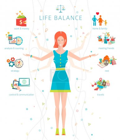 Illustration for Concept of work and life balance, dividing of human energy between important life spheres - Royalty Free Image