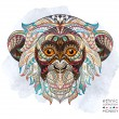 Patterned head of the monkey on the grunge backgro...