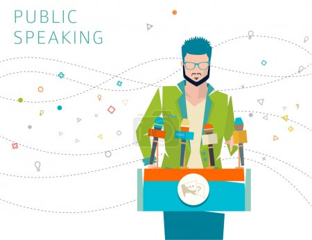 Illustration for Concept of public speaking, speakers stand, press conference - Royalty Free Image