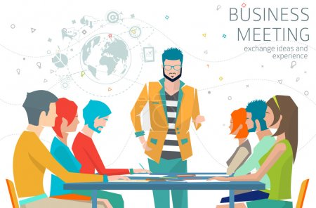 Illustration for Concept of business meeting, leadership, exchange ideas and experience, coworking people, collaboration and discussion - Royalty Free Image