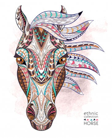 Illustration pour Tête à motifs du cheval sur le fond grunge. Tatouage totem indien africain. Il peut être utilisé pour la conception d'un t-shirt, sac, carte postale, une affiche et ainsi de suite . - image libre de droit