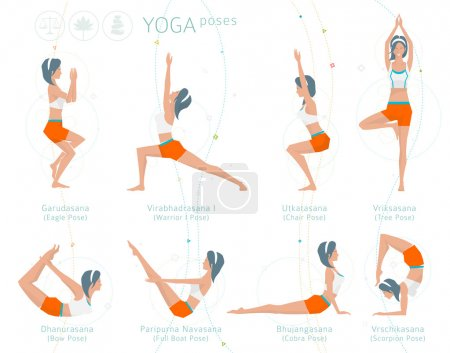 Yoga meditation set of poses