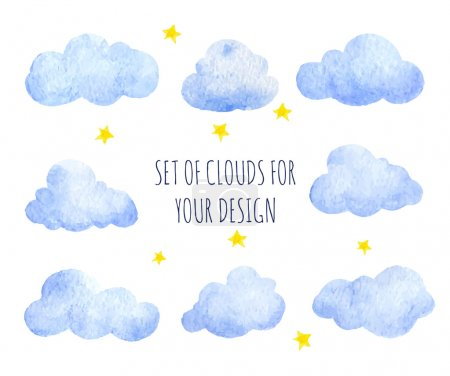 Illustration for Set of watercolor clouds for design - Royalty Free Image
