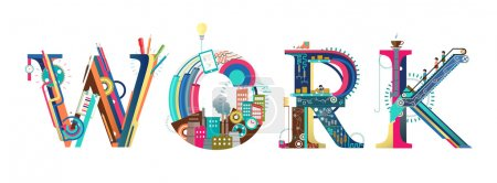 Illustration for Infographic process of work typography - Royalty Free Image