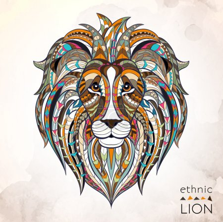 Illustration for Patterned head of lion on the grunge background. African indian totem, tattoo design. It may be used for design of a t-shirt, bag, postcard, a poster and so on. - Royalty Free Image