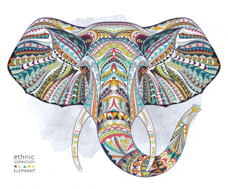 Illustration for Ethnic patterned head of elephant on the grange background. african , indian , totem , tattoo design. - Royalty Free Image