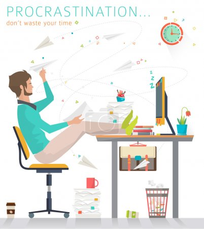 Illustration for Concept of procrastination. Worker and his business. Flat vector illustration. - Royalty Free Image