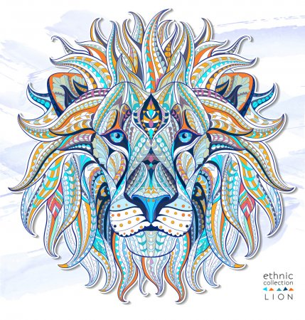 Illustration for Patterned head of the lion on the grunge background. African, indian, totem, tattoo design. - Royalty Free Image