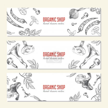 Horizontal Hand drawn sketch vegetables banners, Vector illustration mushroom, olive, pepper, onion isolated on white,