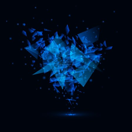 Blue techno style vector explosion