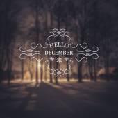 Dobrý den, dne. Zimní pozadí. S pozdravem Card. typografické designu