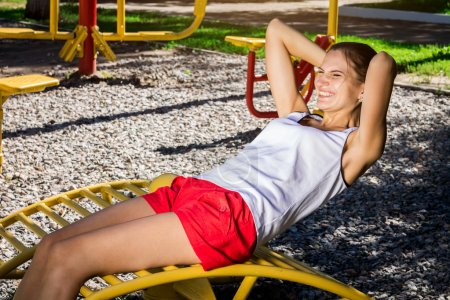 Young girl working out outdoor