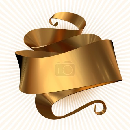 Photo for 3D rendering of the Gold ribbon isolated - Royalty Free Image