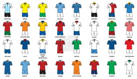 Set of abstract nationals football uniform