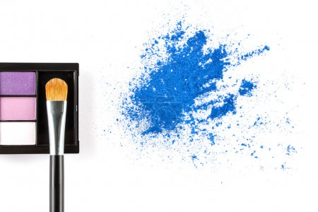 blue Powder Eyeshadow  and Make up Palette with Brush