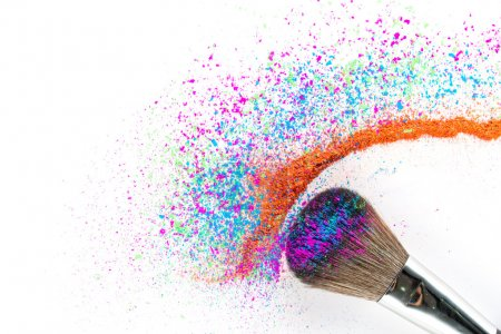 Multi Colored Powder Eyeshadow on a Brush, fashion beauty