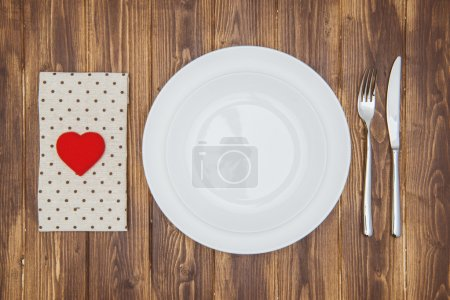 Celebrate valentine's day, Heart shape on a napkin