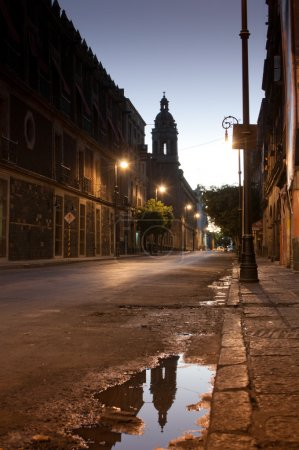 Twilight in reflection before sunrise in Mexico