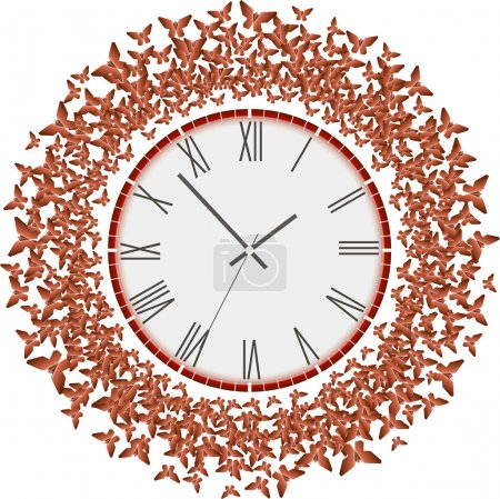Clock with flying red butterflies