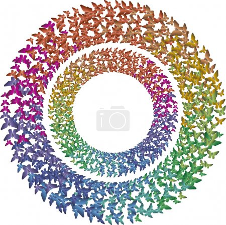 Two rcircles of multicolored rainbow butterflies