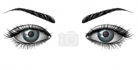 Photorealistic human female eyes close up