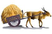 Hayrick in the buffalo cart vector illustration