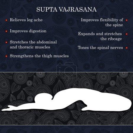 Illustration pour Yoga pose infographies, avantages de la pratique Supta Vajrasana - image libre de droit