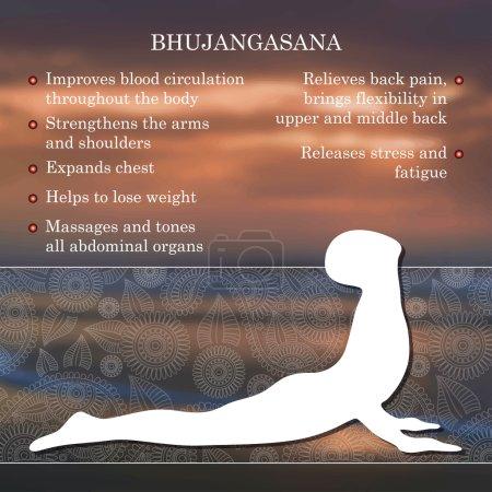 Illustration pour Yoga pose infographies, avantages de la pratique Bhujangasana - image libre de droit