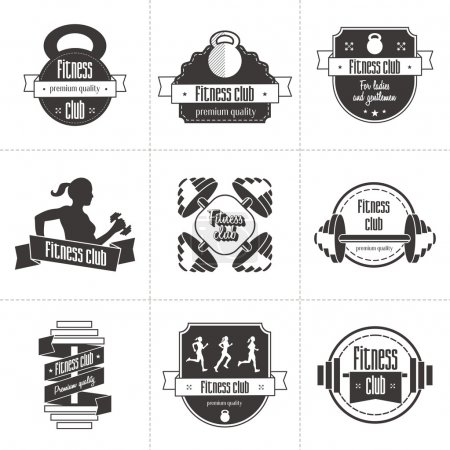 Vector set of sports and fitness club logo, athletic labels and badges templates. Gym, bodybuilder, fit man, athlete icon. Can be used to design business cards, shop windows, posters, flyers, etc.