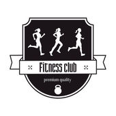 Fitness Center vintage logo concept emblem with three running girl vector illustration eps10 easy to edit